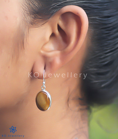 The Abhata Silver Gemstone Earrings (Tiger Eye)