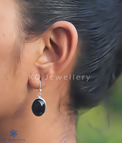 The Abhata Silver Gemstone Earrings (Black Onyx)