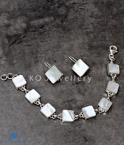mother of pearl silver bracelet and earrings online shopping