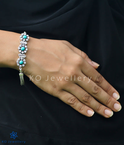 Handmade turquoise and silver bracelet for office wear