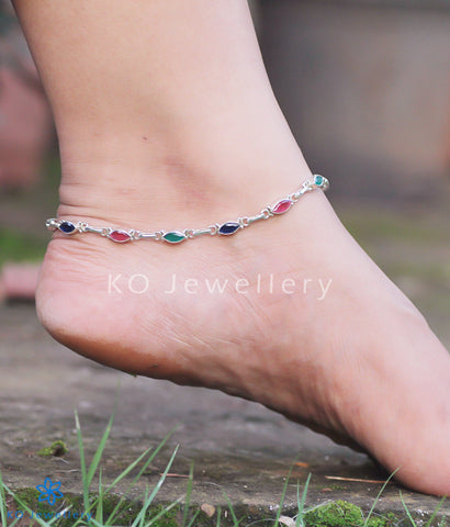 Silver and gemstone anklets lightweight
