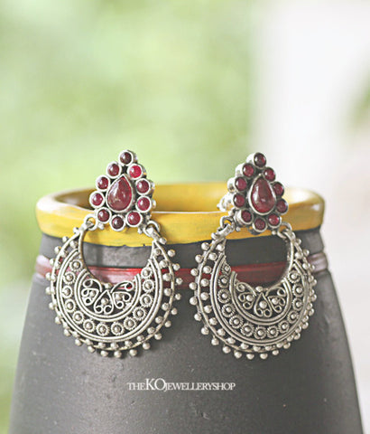Handcrafted silver temple jewellery earrings