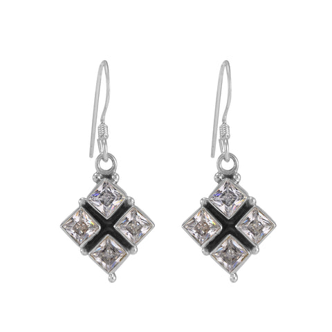 The Sahaj Silver Gemstone Earrings (White)
