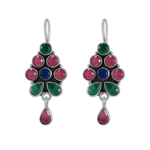 The Abhay Silver Gemstone Earrings (Multicolor)
