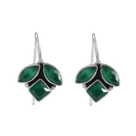 The Sahil Silver Gemstone Earrings (Green)