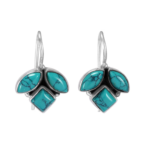The Sahil Silver Gemstone Earrings (Turquoise)