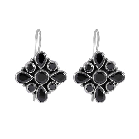 The Anaita Silver Gemstone Earring (Black)