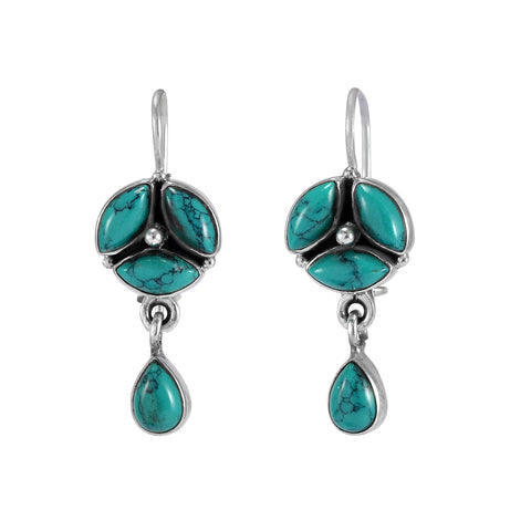 The Mita Silver Gemstone Earrings(Turquoise)