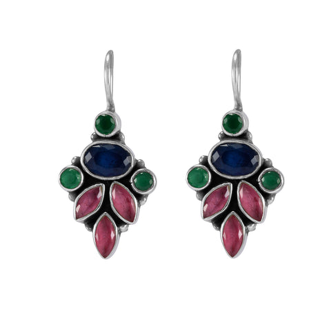 The Aadi Silver Gemstone Earrings (Multicolor)