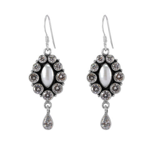 The Riddhima Silver Gemstone Earrings (Pearl/White)