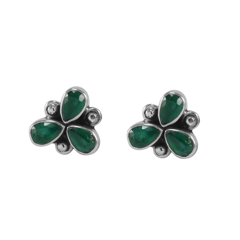 The Anish Silver Gemstone Earrings (Green)