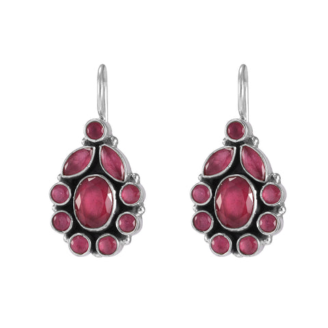The Trishala Silver Gemstone Earrings (Red)