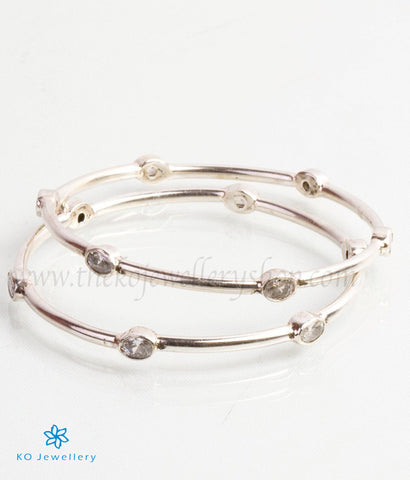 The Abhata Silver Bangle- White