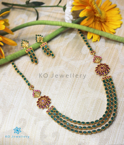 The Aham Silver Layered Green Necklace