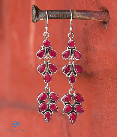 The Anusha Silver Gemstone Earrings- Red