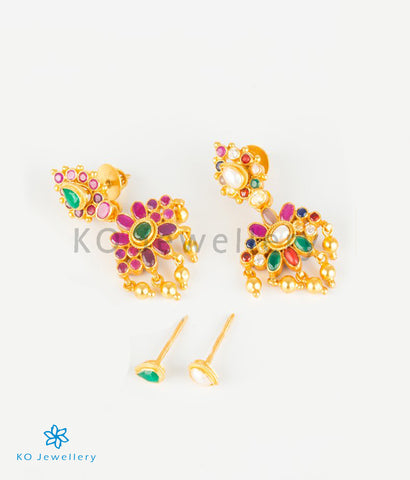 The Dvaita Silver Kempu Reversible Earrings(Navaratna)