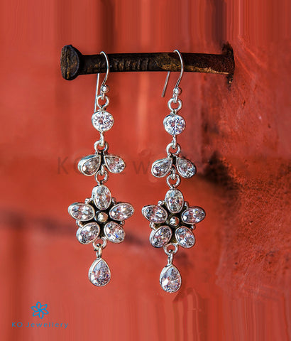 The Aria Silver Gemstone Earrings- White