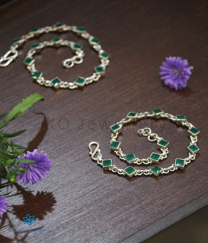 The Pahal Silver Gemstone Anklets (Green)
