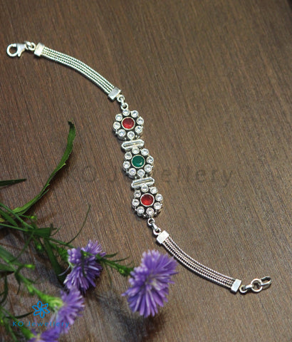 The Poojita Silver Gemstone Bracelet (Red/Green)