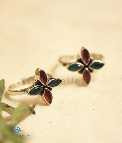 The Akshata Silver Toe-Rings (Red/Green)