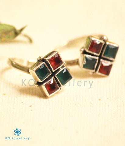 The Anaita Silver Toe-Rings (Red/Green)