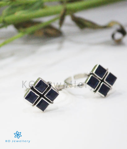 The Anaita Silver Toe-Rings (Blue)