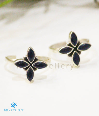 The Akshata Silver Toe-Rings (Blue)