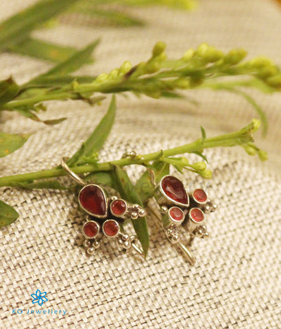 The Anya Silver Gemstone Earrings-(Red)
