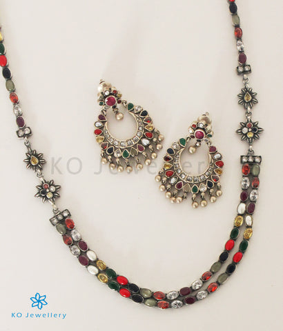 The Meghana Silver Navaratna  Necklace(2 Layers/Oxidised)