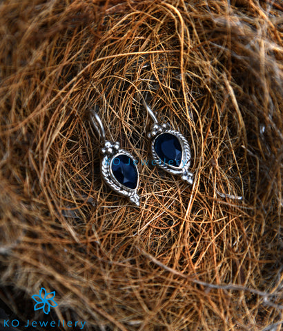 The Varna Silver Gemstone Earrings-Blue