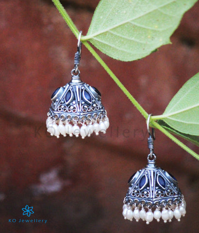 The Maya Silver Blue Jhumka (Oxidised/Hook)
