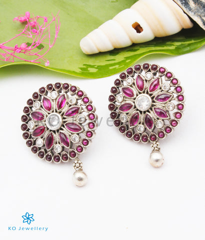The Sharmistha Silver Earrings (Red/Oxidised)