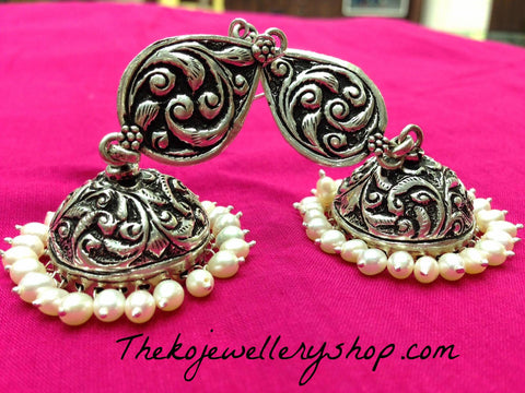 The Dharini Silver Jhumka