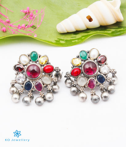The Anvi Silver Navratna Earrings (Oxidised)