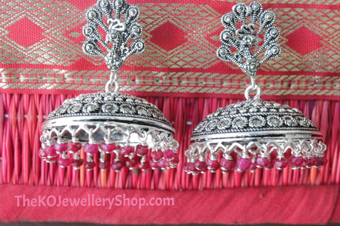 The Silver Peacock Jhumka - KO Jewellery