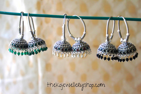 The Ahalya Silver Bali-Earring (Red & Green)