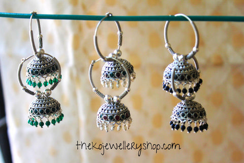 The Ahalya Silver Bali-Earring (Green,Black)