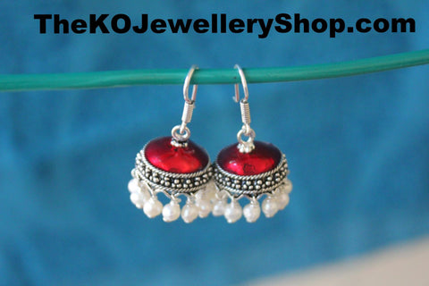 Shop online for women's silver red  jhumka jewellery