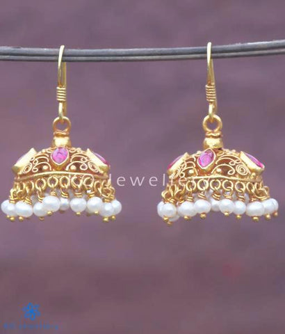 Small, elegant jhumkas antique temple jewellery collection