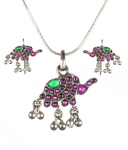 The Dvidanta Silver Elephant Pendant Set (Oxidised;Red/Green)