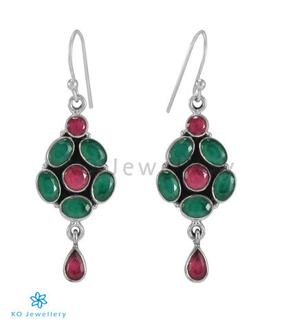 The Swar Silver Gemstone Earrings (Green/Red)