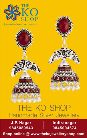 The Antique Silver Jhumka - KO Jewellery