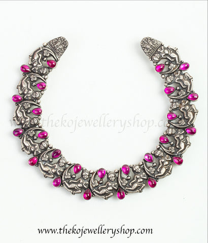 Lord Krishna choker design pure silver necklace studded with red stones shop online