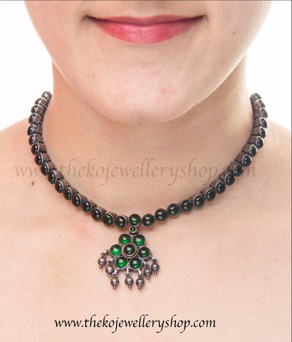 Antique addigai designs south Indian temple jewellery necklace with green kempu stones buy online