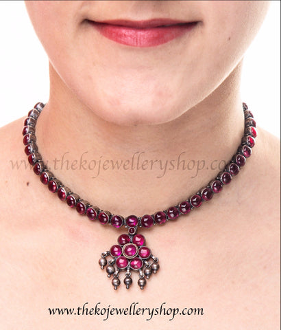Traditional Addige necklace  south Indian temple jewellery silver necklace with red kempu stones