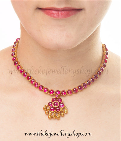 Kemp stone Addigai classic south indian pure silver gold dipped necklace