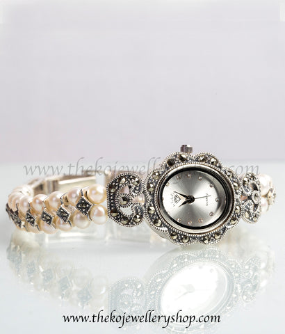 925 sterling silver pearl watch for women