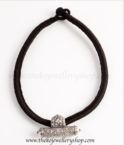 The Tanika Silver Rope Necklace(Black/Oxidised)