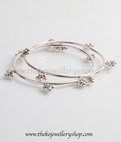 Hand crafted silver bangles shop online