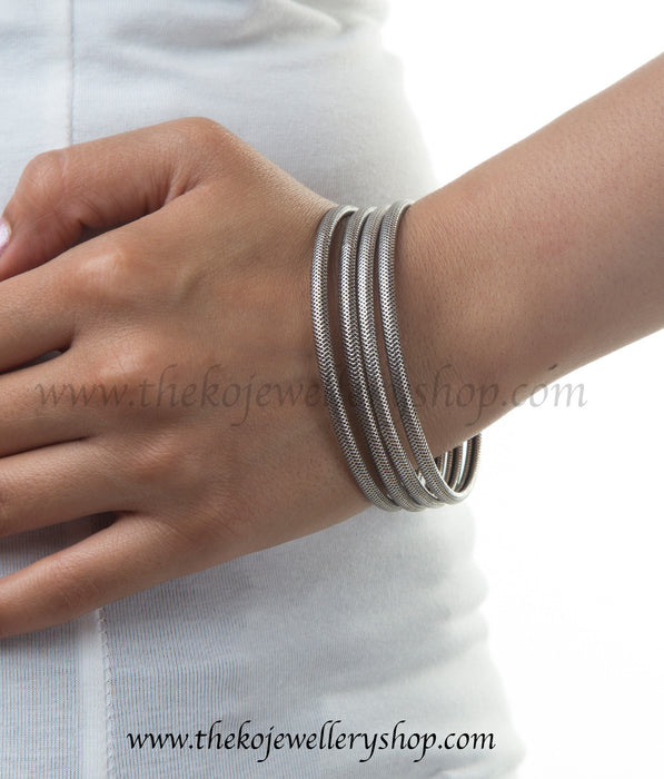 Shop online for women's silver bangles set